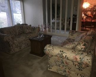 another view of the love seats and occasional table