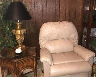 cream colored recliner