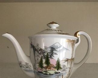 up close of the asian teapot