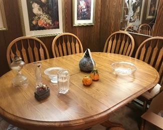 second oak table with built in leaf