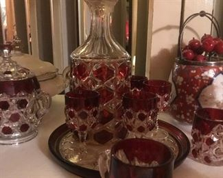 red block decanter and liquer glasses