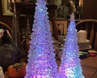 lighted roman christmas trees