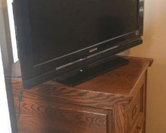 oak 2 drawer filing cabinet, flat screen television - ONLY TV IS AVAILABLE FOR SATURDAY PURCHASE