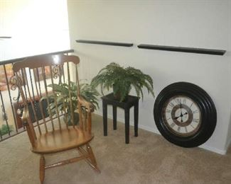 rocker, wall clock, décor  ROCKING CHAIR AND PLANT ONLY AVAILABLE FOR SATURDAY PURCHASE