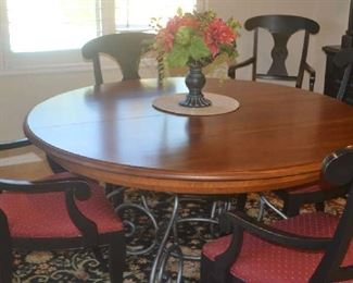 round dining table with 6 chairs - large leaf not pictured