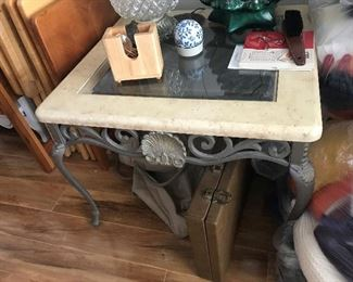 Stone / Glass top metal end table $ 72.00