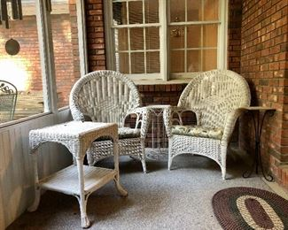 Wicker chairs and table also metal table