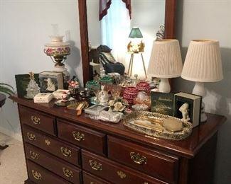 Beautiful nine drawer dresser with mirror