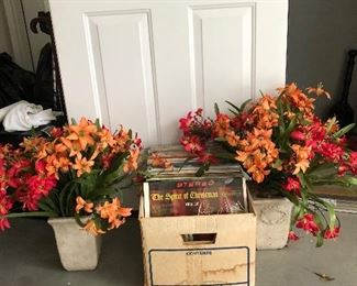 Nice silk flowers and record albums