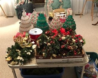 Candle wreaths, and vintage Christmas trees made with safety pins.