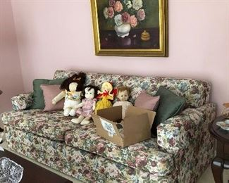 Small sleeper sofa, original painting, handmade and store brought dolls
