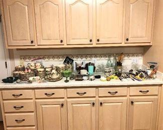 Kitchen utensils, dishes, crystal...