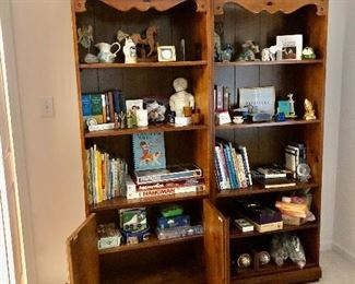 Two wood bookcases,  games, smalls