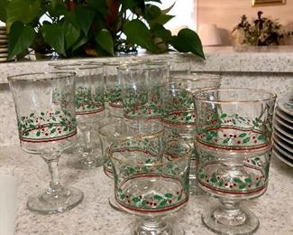 """Vintage Libbey """"Holly & Ivy"""" Christmas glasses"""