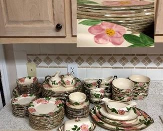 'Desert Rose' Franciscan Dinnerware England 94 pieces, serving pieces, salt and pepper, cream and sugar, large and small bowls, butter dish and more