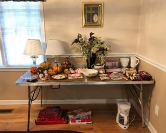 Lots to shop from!  Mikasa pieces, milk glass, hand painted porcelain switch plates, vintage dolls, fall decorations...