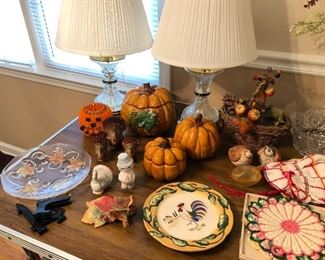 Just in time for Fall!  Leaves, pumpkins, turkeys!  Salt/Pepper shakers, lamps, hand made doilies...