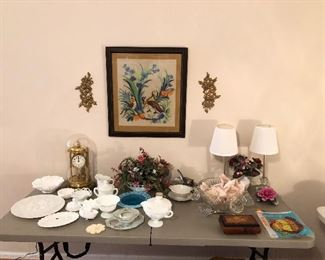 Unique pieces of milk glass, punch bowl set, lamps, inlaid wood music box, anniversary clock...