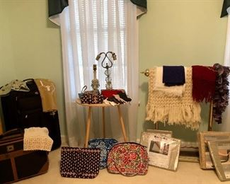 luggage, Vera Bradley bags, new rug mats, vintage lamps, brass quilt rack, crochet pieces