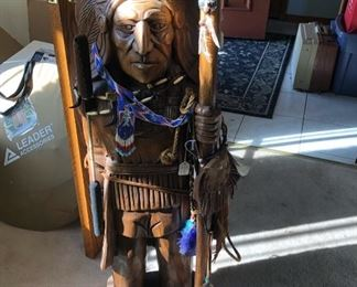 Large solid wood Indian carving