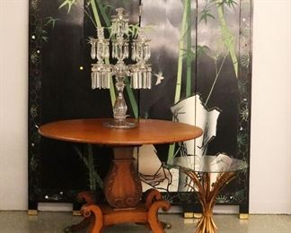 Mahogany Federal breakfast table, Chinese lacquer screen, Coco Chanel Style Wheat Side table, Candelabra