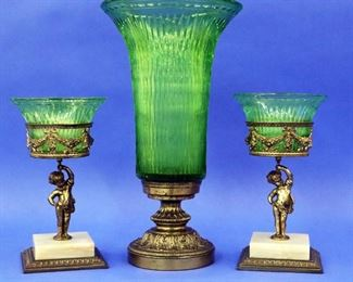 3 pc. Emerald Green Pairpoint Garniture