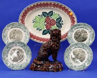 Stick Spatterware platter, Rockingham dog, French plates