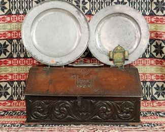 1750 Bible Box, Pewter chargers & candle snuffer, Coverlet