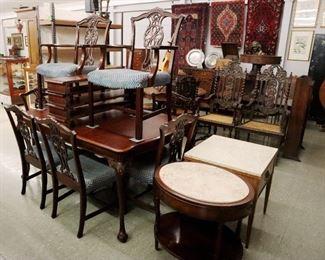 Mahogany Dining Room Set, Rugs, MT tables