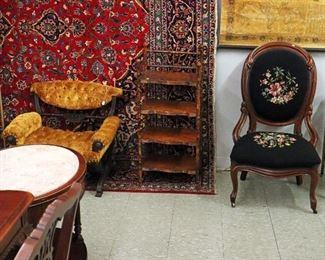 "Victorian Chairs, 10' x 13'6"" Kashan Rug"