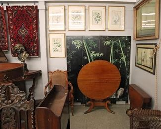 Early Botanical prints, Chinese Screen, Federal tilt table