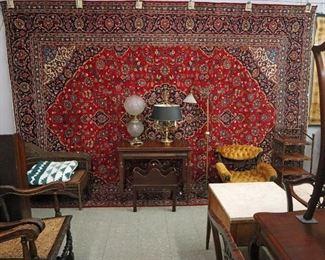 "Kashan 10' x 13'6"" Rugs, Victorian Slipper Chair, Lamps"