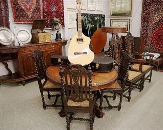 Giannini Model AWKN6 Rosewood & Spruce Guitar, Barley Twist Chairs & Table