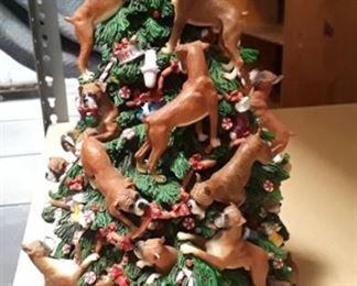 Dog themed Christmas tree table display