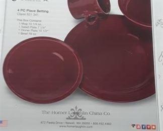 Fiesta bowl, plate, mug set in burgundy