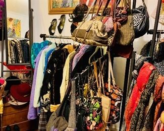 Large collection of vintage and modern clothing, shoes, purses, wallets, scarves,