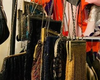 Large collection of antique beaded bags, some have sterling clasps and straps.