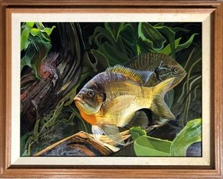 Oil On Board of Fish