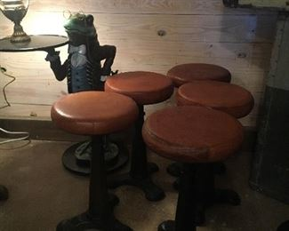 Mr. Frog waiter Five SINGER cast iron table-high stools w/leather seats