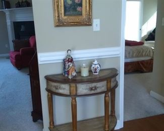 Half moon floral appliqued side table