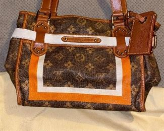 AUTHENTIC LOUIS VUITTON MONOGRAM TISSE SAC RAYURE PM TOTE GREAT CONDITION