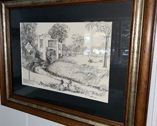 FRAMED LITHOGRAPH BY C. DUNPHY
