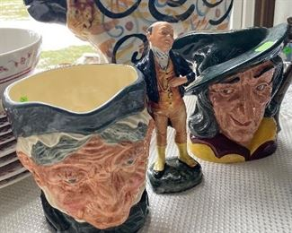 ROYAL DOULTON TOBY MUGS AND FIGURINE