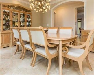 Thomasville Dining Table, Bernhardt China Cabinet and Dining Chairs.