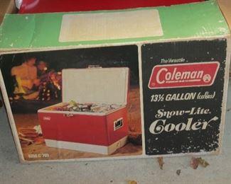 VINTAGE METAL COOLER STILL IN BOX.