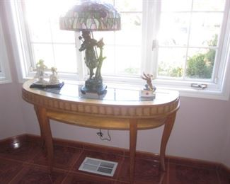 Half Moon Inlaid Accent Table