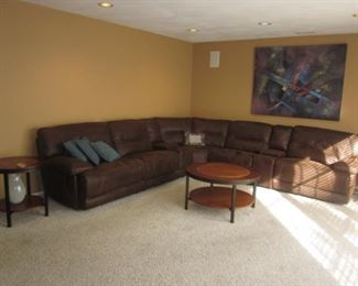 Ultra Suede Sectional Sofa Recliner with Thomasville Inlaid Accent Tables For Any Room