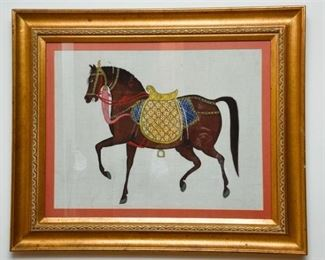 2. Hand Painted Textile Depicting a Horse
