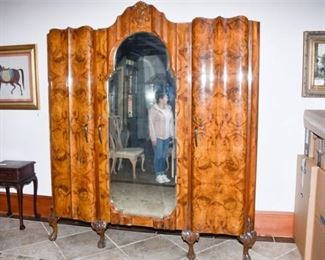 3. Large Burl Wood Cabinet with Mirror