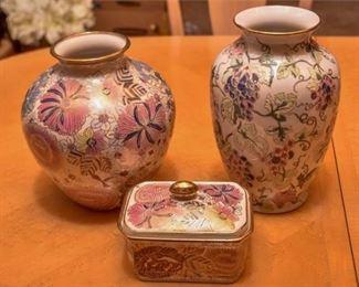 8. Three 3 Enameled Porcelain Vessels